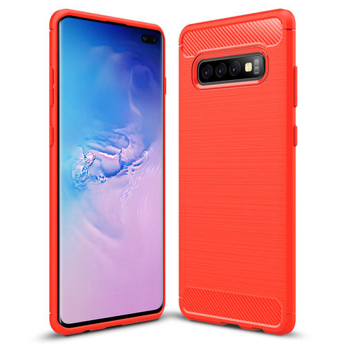 Flexi Slim Carbon Fibre Case for Samsung Galaxy S10+ (Brushed Red)